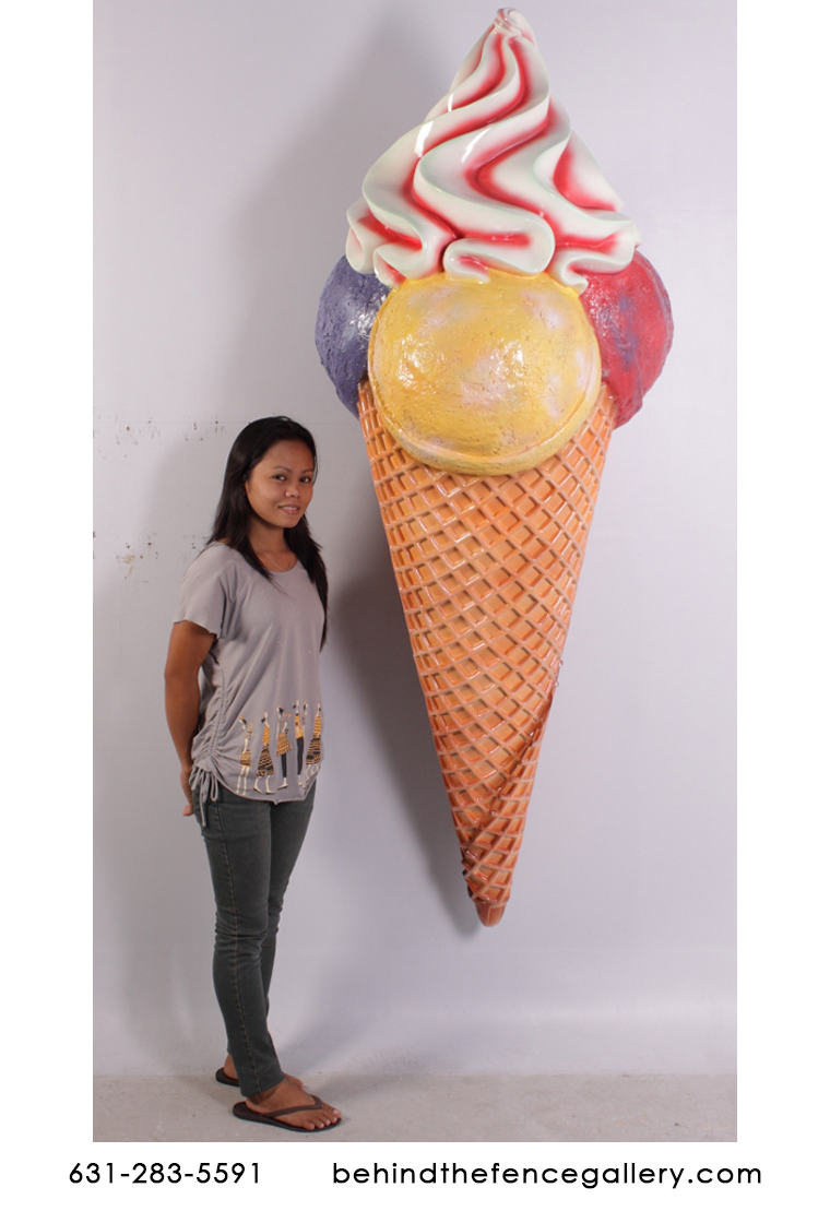 Giant Ice Cream Cone Wall Mounted Statue