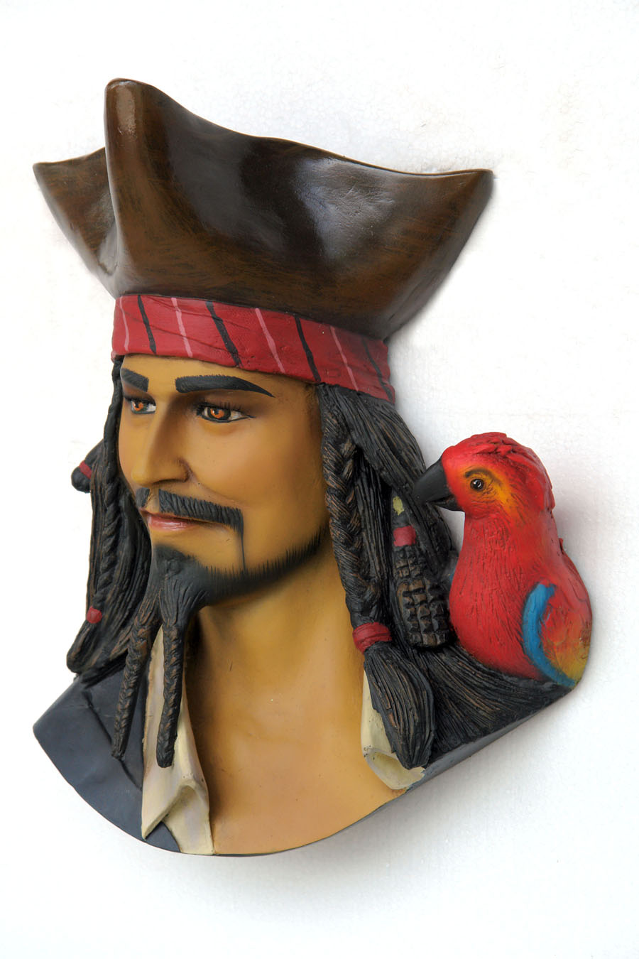 Pirate Head with Bird Wall Decor - Click Image to Close