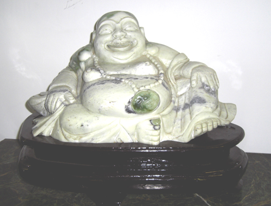 White & Green JADE sitting Buddha on wood pedestal