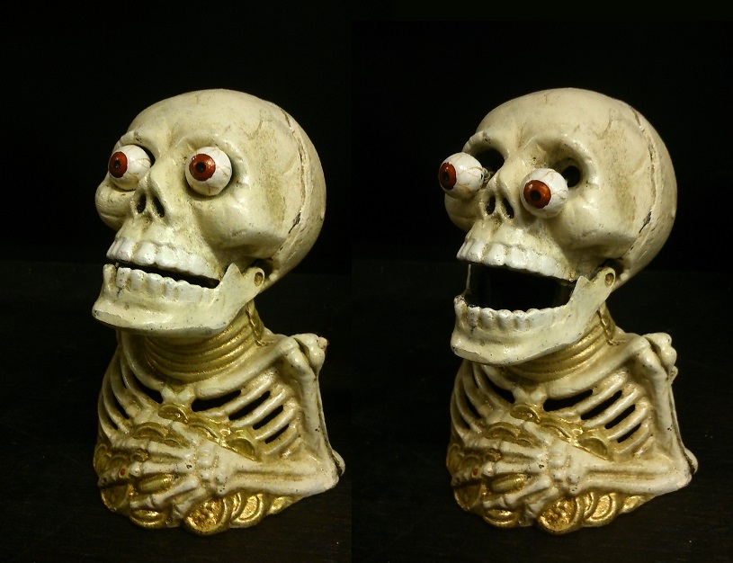 Skeleton Cast Iron Mechanical Coin Bank