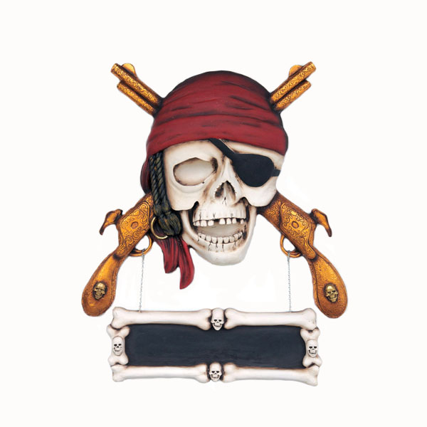 Pirate Skull with Guns Wall Decor