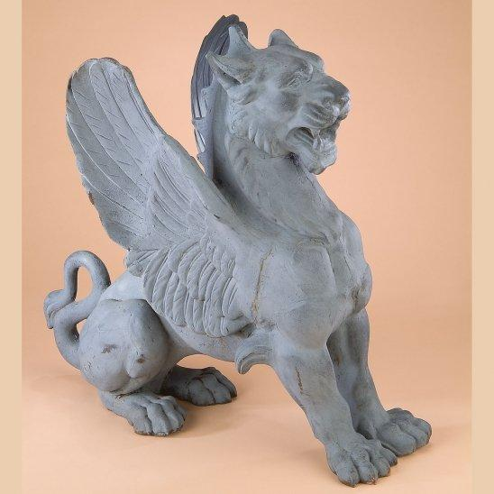 Cast Iron Winged Griffin Guard Statues