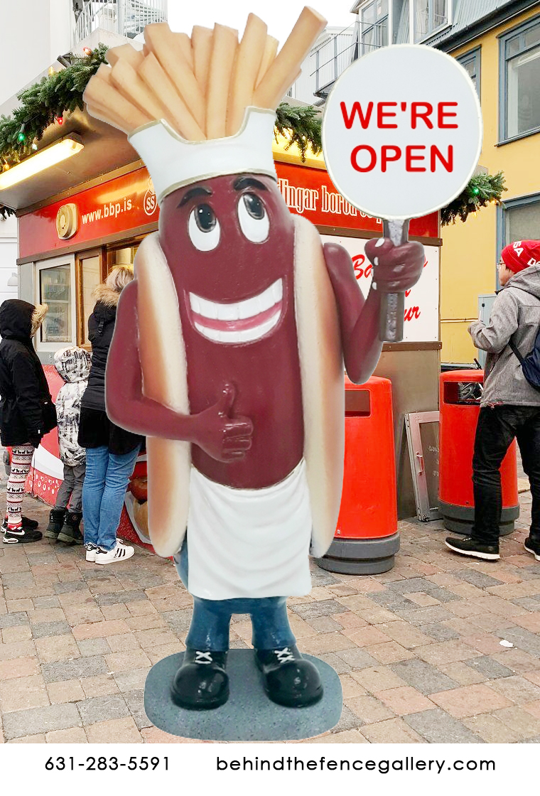 Hot Dog Man with Sign and Fries