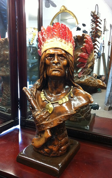Wooden Indian Bust 23\'\'