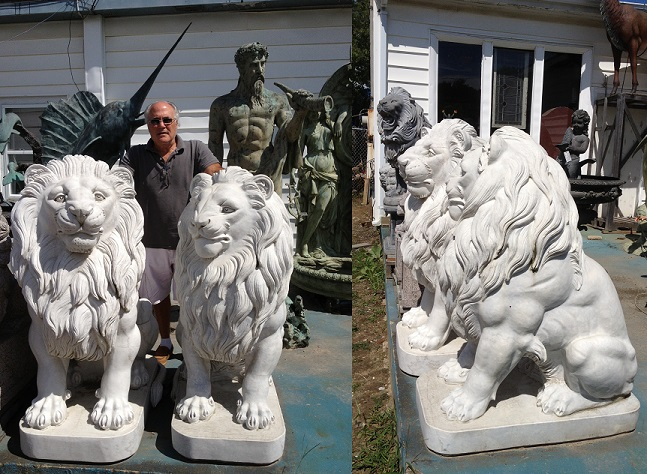 Giant Marble Lions (pair)