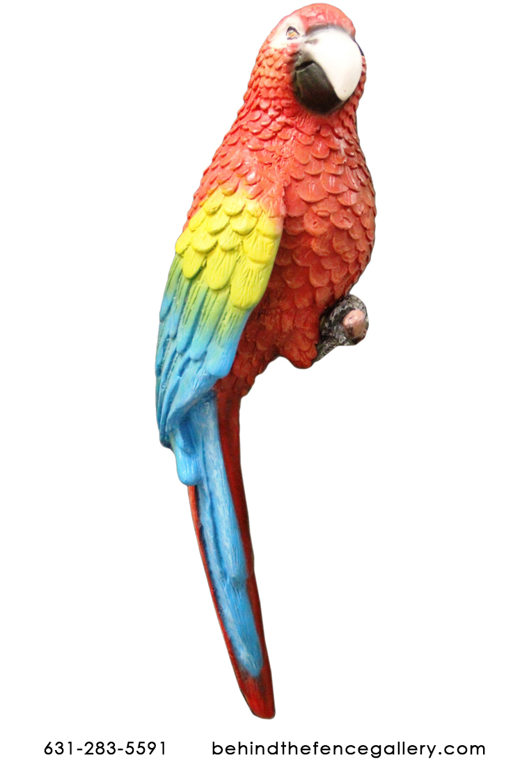 Perched Life Size Scarlet Macaw Statue