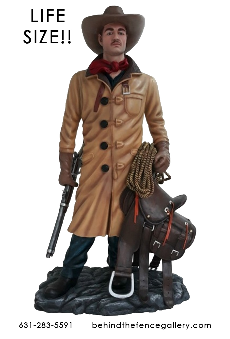 Old Western Cowboy with Saddle Rancher Statue