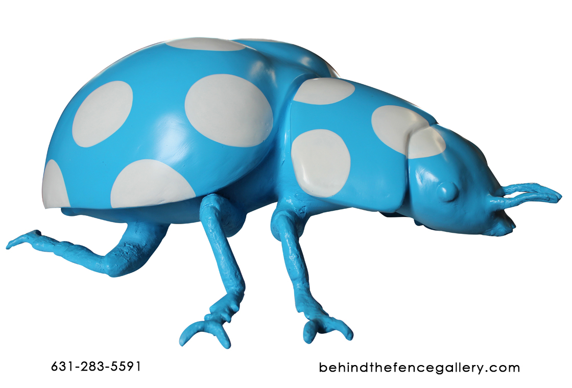Blue Polka Dot Over Sized Pop Art Beetle Statue