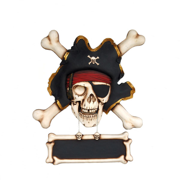 Pirate Skull with Bones Wall Sign