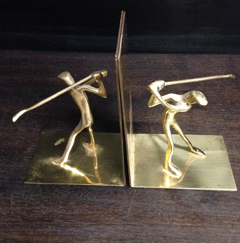 Golfer Book Ends Pair - Click Image to Close