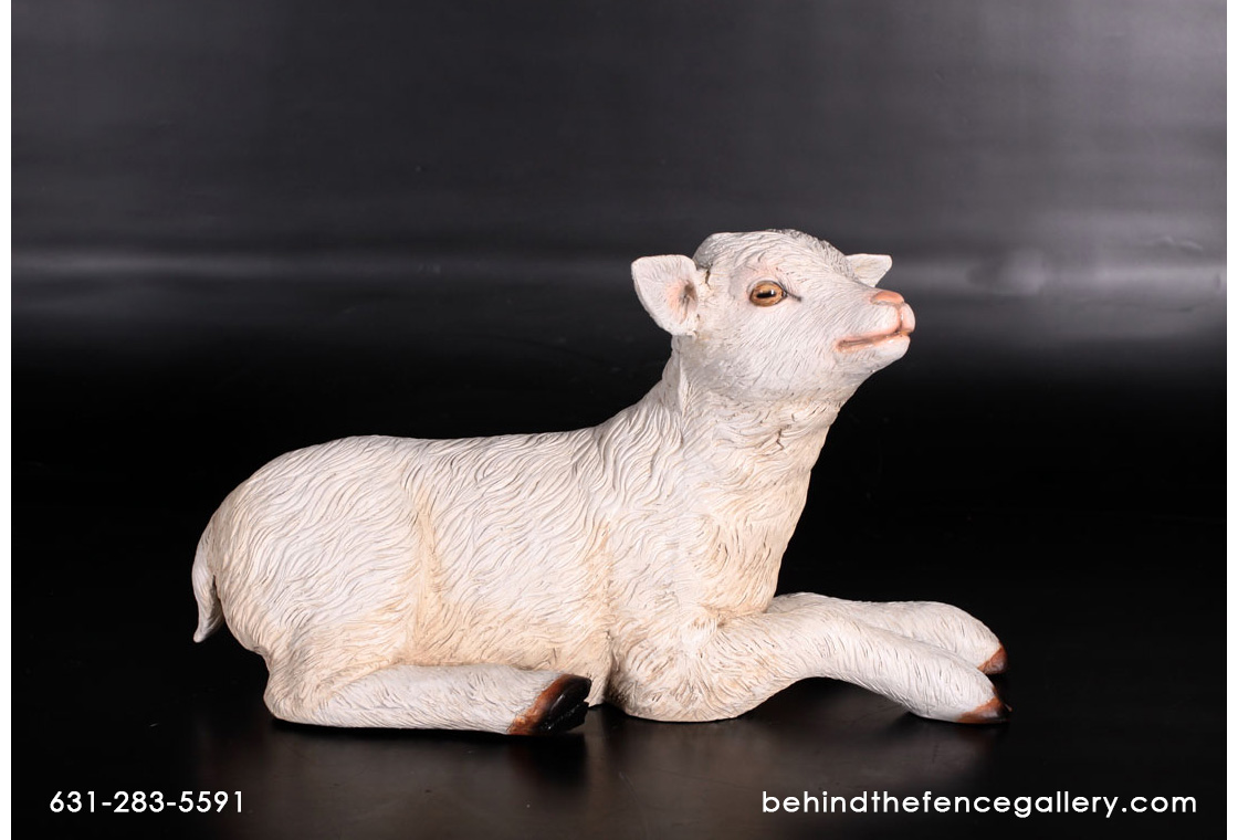Goat Kid Resting Statue - Click Image to Close