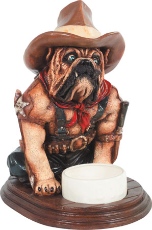 Bulldog with Dog Bowl