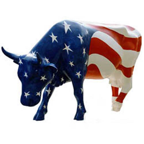 Patriotic Cow - Head down (with or without Horns)
