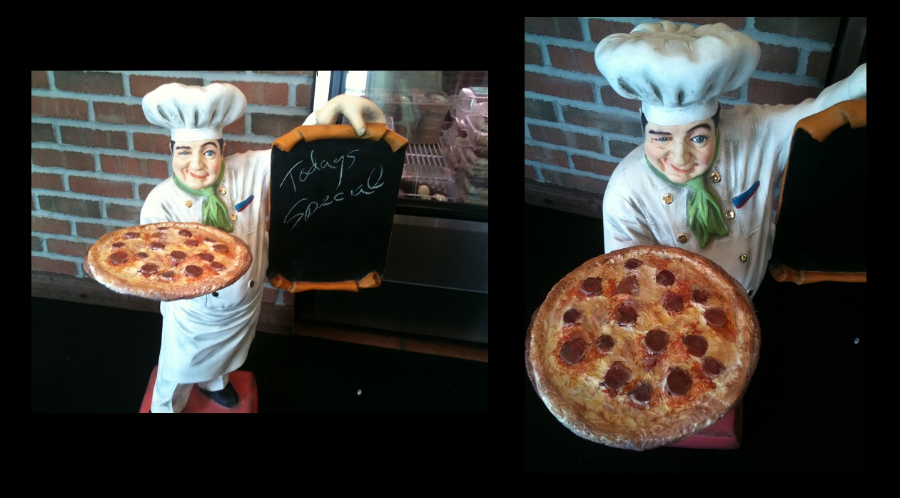 Pizza Chef Holding Pizza Pie & Menu Board