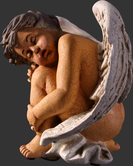 Sleeping Cherub Antique Cracked Finish / Fiberglass
