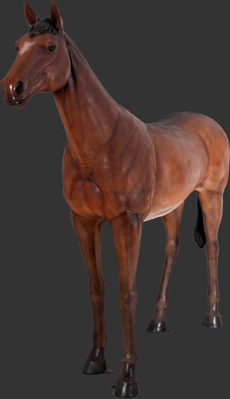 Standing Chestnut Horse - Click Image to Close