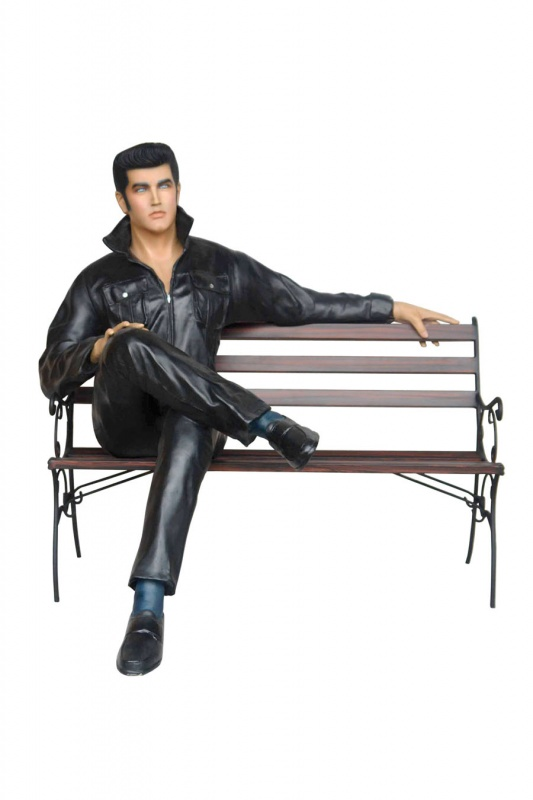 Elvis Presley on bench