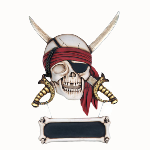 Pirate Skull with Sword wall sign