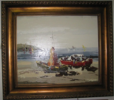 Oil Painting-Boats, Impressionistic style