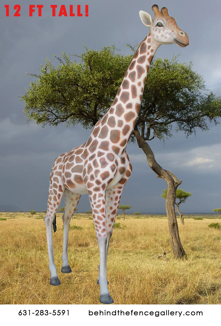 Smooth 12 ft. Tall Giraffe Statue - Click Image to Close
