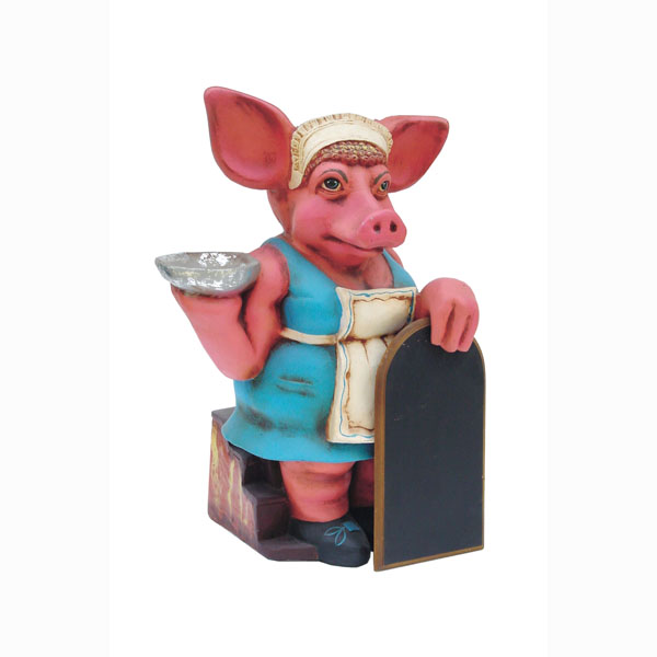 Pig Lady with Menu Board