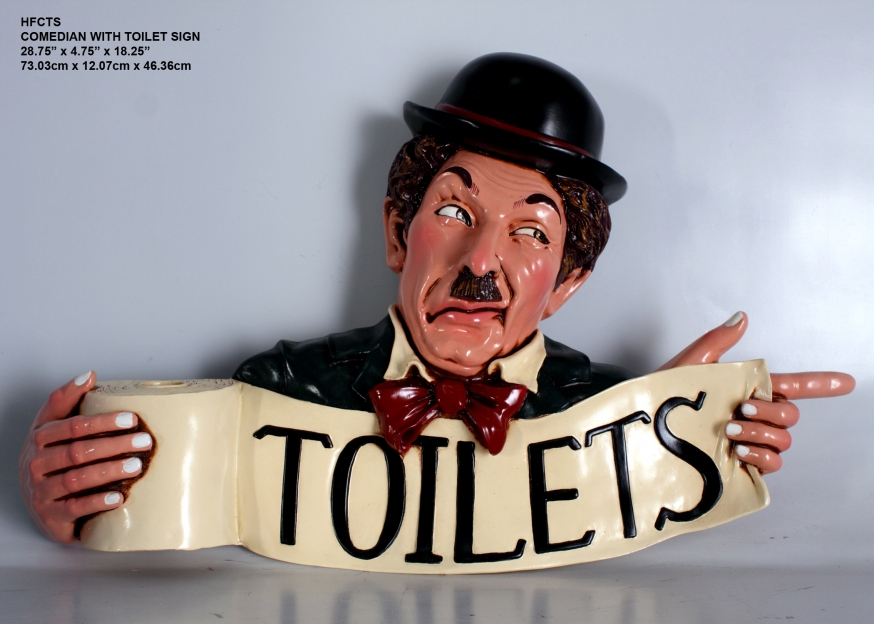 Comedian with Toilet Sign