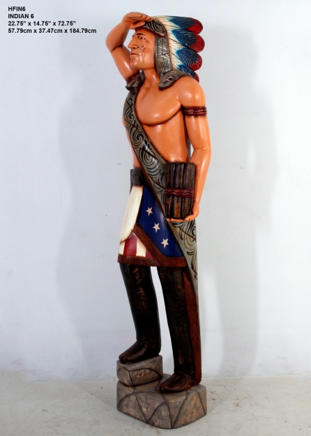 Wooden Indian Statue 7 ft.