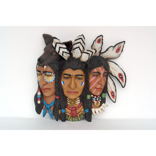 3 Faces Indian Warrior Heads