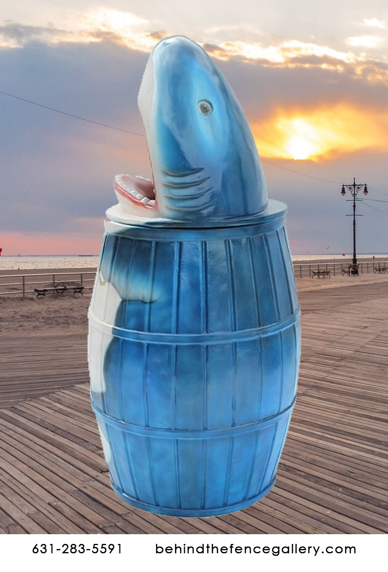 Great White Shark Waste Bin Statue