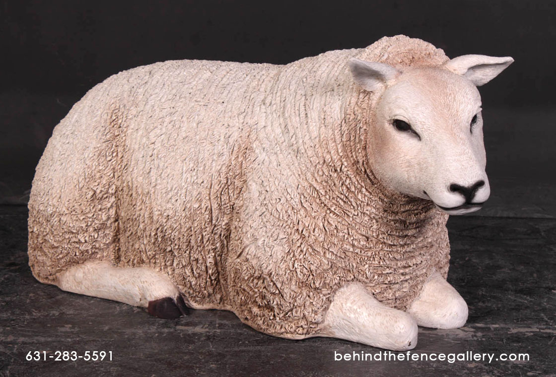 Texelaar Ewe Sheep - Lying Down Statue